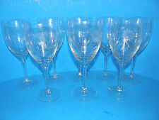 SET OF 8 CRYSTAL CLEAR WINE GLASSES LONG STEM WITH FLORAL DESIGN