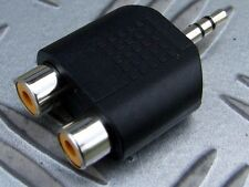 2x 3.5mm STEREO JACK PLUG TO 2 x PHONO RCA SOCKETS  MP3 IPOD COMPUTER HI FI etc