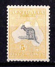 Australia 1918 Kangaroo 5/- Grey & Yellow 3rd Wmk INVERTED MH