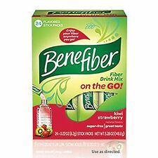 3 Pack BeneFiber Fiber Drink Mix on the Go! Kiwi Strawberry Stick Packs 24 Each