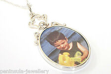 """Sterling Silver Oval Double Sided Photo frame pendant and 18"""" chain Gift Boxed"""