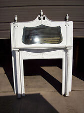 Painted Cherry Crest bevel mirror Fire place mantle tall 2 column carvings (F A)