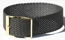 Black braided nylon 18mm vintage watch band tropical type 1960s New Old Stock