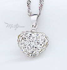 Silver heart w crystal Rhinestones pendant necklace - SH3
