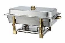 Winco 201, 8-Quart Gold-Accented Stainless Steel Oblong Chafer