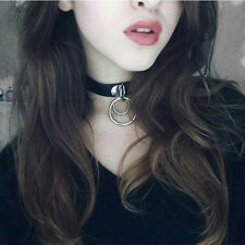 Classic Punk Rock Dark Harajuku Double O RING Leather Collar Choker Necklace