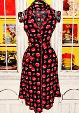 Betsey Johnson VINTAGE Dress RED APPLE Black CUP OF COFFEE Button Tea XS S 0 2 4