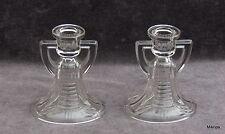 Paar antike Art Deco Kerzenleuchter aus klares Pressglas Belgien oder Frankreich