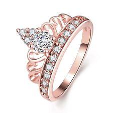 Charm Women 18K Rose Gold GP Princess Crown Crystal Gemstone Wedding Band Ring