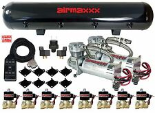 "AirMaxxx 480C Chrome Compressors 1/2"" Valves Air Ride Black 7 Switch Tank"
