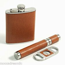 Leather Wrapped Stainless Steel 6 oz. Flask Cigar Cigar Case and Cutter Gift Set