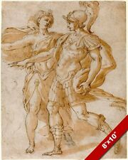 ROMAN GOD OF WAR MARS & GODESS OF THE MOON DIANA PAINTING ART REAL CANVAS PRINT