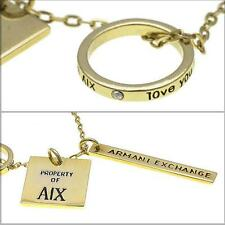 New Armani Exchange AX Gold Logo Plate Necklace NWT #5NK260