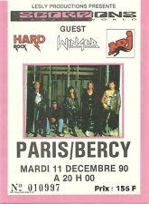 RARE / TICKET DE CONCERT - SCORPIONS A PARIS ( FRANCE ) 1990 / COMME NEUF STUB