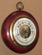 VINTAGE SWIFT WEATHER BAROMETER WOOD BRASS GLASS FACE GAUGE WEST GERMANY
