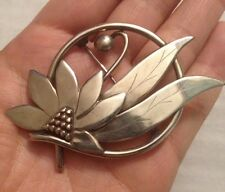 Vintage  Sterling Silver Flower and Leaf Pin Brooch (b619)