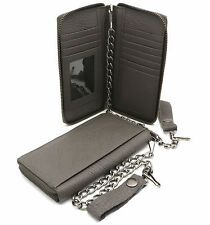 Bifold Gray Genuine Leather Checkbook Holder Zip-around Wallet with a Chain