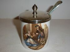 Caverswall England Jam Jar with Lid/Spoon,18th Century Scenes-Fruit Sellers