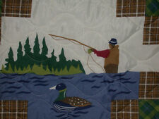 2 TWIN QUILT + 2 SHAM Lures Fish FLY  Lodge cabin  country river lake boat