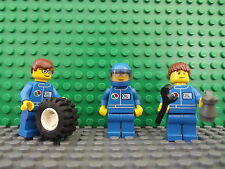 3 Lego Brand New Mini Figures Fig F1 Mechanics Formula 1 Set Wheel Accessories