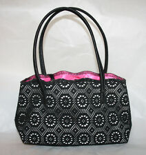 Victoria Secret Small Handbag Black/White Lace Hot Pink Lining (A21)