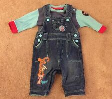 Baby Boys Disney Tiger Dungaree Set 0-3 Months Denim VGC Cute !
