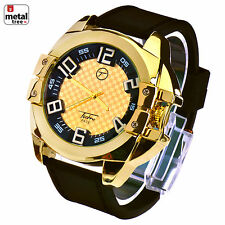 Men's Hip Hop 14k Gold Plated Silicone Band Techno Pave Watches WR 8205 G