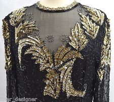 Scala Haute sheer silk Sequin cocktail Dress Silver gold sequin knee gown M VTG