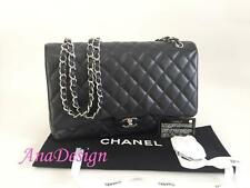 Authentic CHANEL Classic Maxi Black Caviar Leather Single Flap Bag SHW