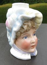 Lámpara de Aceite De Porcelana Antiguo Base-Niña/cabeza de muñecas - 4264-Ernst Bohne & Sons
