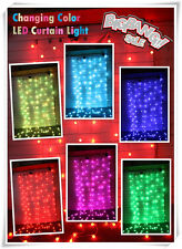 112 LED RGB Changing Multi Color Flashing Curtain Light XMAS Party In/ Outdoor