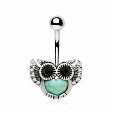 OWL belly ring synthetic turquoise stone navel body jewelry piercing black CZ