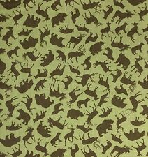 By 1/2 Yard Benartex Trail Mix Forest Animals Khaki / Olive Fabric ~ moose deer
