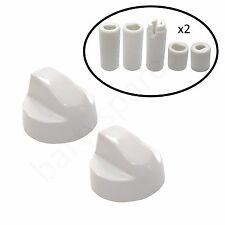 Two UNIVERAL for IKEA Cooker Oven Hob White Control Knob & Ten Adapters