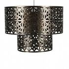 Moroccan Style Antique Brass Bronze Two Tiered Ceiling Light Shade Lightshade