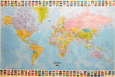 (LAMINATED) WORLD MAP - EUROPE CENTERED POSTER (61x91cm) FLAGS TOP & BOTTOM NEW