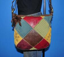 FOSSIL Multicolor Floral Patchwork Leather Crossbody Messenger Purse Bag Tote