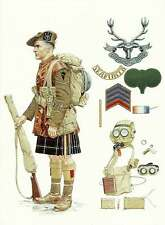 Postcard WW1 British Tommy Atkins Soldier Seaforth Highlander Uniform Weapons
