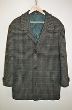 vtg HARRIS TWEED WOOL DOGTOOTH COUNTRY HAND WOVEN QUILTED WARM OVERCOAT size XL