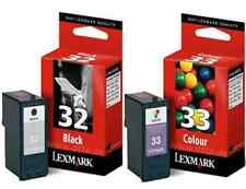GENUINE LEXMARK 32 BLACK AND 33 COLOUR CARTRIDGES 2 YEARS GUARANTEE FAST POSTAGE