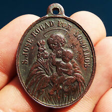 LARGE ST JOSEPH & BABY JESUS MEDAL OLD 19TH RELIGIOUS GUARDIAN ANGEL PENDANT
