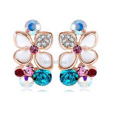 Elegant 18K Rose Gold GP Crystal Party Flower Stud Earrings BR1155