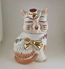 PUSS N BOOTS w/ GOLD FISH & BOW FLORAL SHAWL COOKIE JAR - SHIPS FREE US