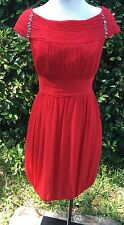 Donna Ricco Red Silk Chiffon Ruched Empire Cocktail Bubble Dress 10 MSRP $189