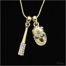 Baseball Cap Bat Set Sports BALLCAP Pendant Necklace Crystal Clear 3D Gold Jewel