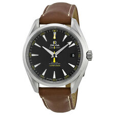 Omega Aqua Terra Automatic Black Dial Brown Leather Mens Watch 23112422101001