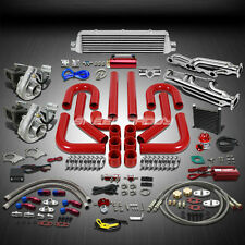 T04 .63AR 500+HP 19PC TWIN TURBO CHARGER+MANIFOLD+INTERCOOLER KIT FOR CHEVY SBC