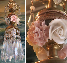 1of2 chandelier mini lamp Brass Swag crystal prism vintage Porcelain Rose flower