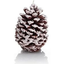 Alpine Glitter Pine Cone Christmas Xmas Candle Gift Set Table Decor Brown 14cm