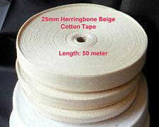"25mm (1"") Herringbone Cotton Tape Twill Natural Binding Bunting Trimming 50MTR"